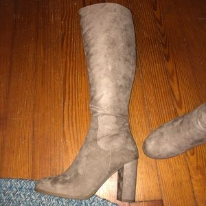 Taupe suede knee-high high-heel boots (size 10)